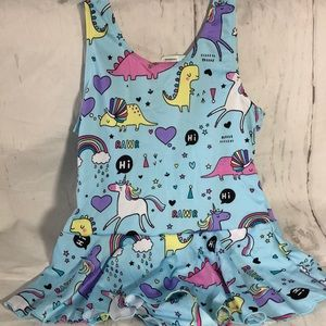 Girls One Piece Unicorn Rainbow Swimsuit Blue